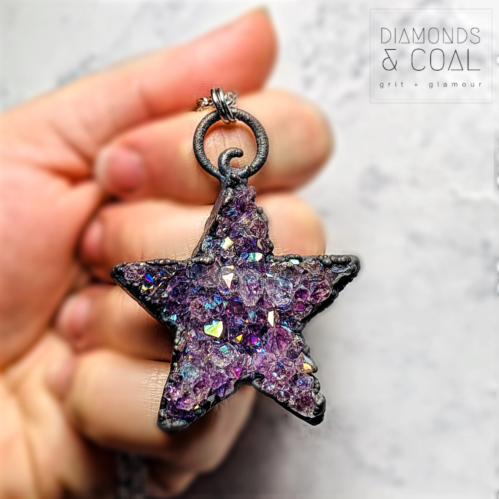 Electroformed Angel Aura Amethyst Star Necklace