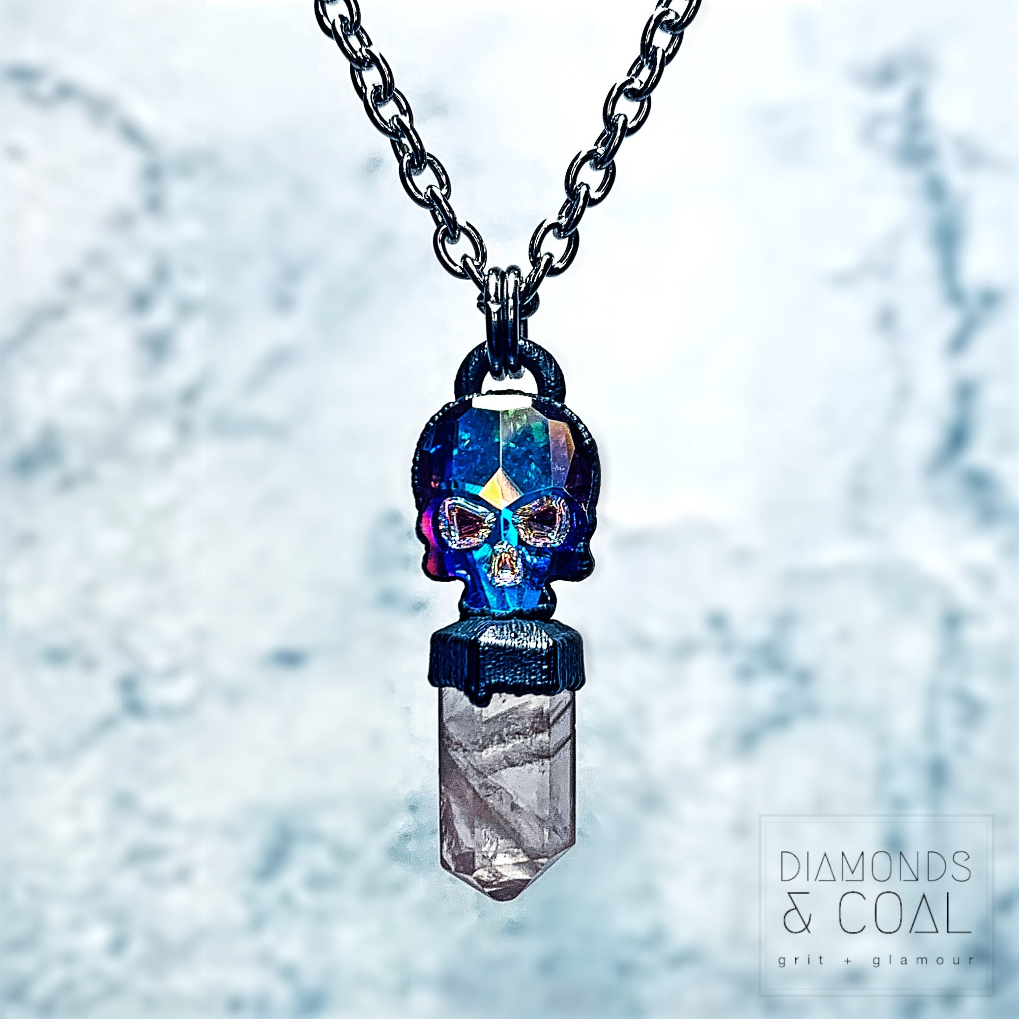 Electroformed Swarovski Skull and Rose Quartz Crystal Point Necklace #2