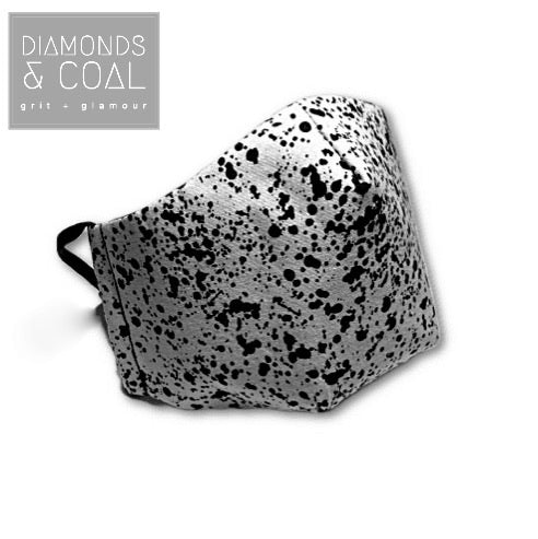 3 Point 3D Face Mask with Filter Pocket and EAR LOOPS - Unisex - Black and White Splatter