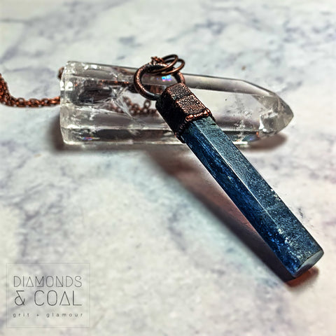 Electroformed Blue Kyanite Bar Necklace