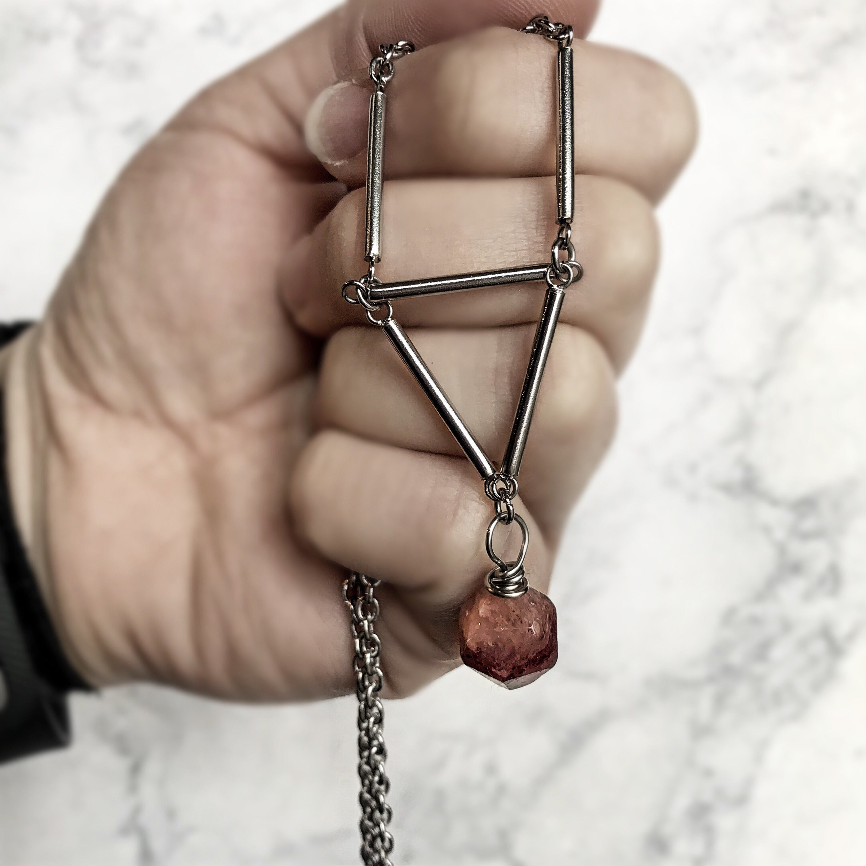 Stainless Steel Triangle Necklace - Strawberry Quartz