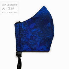 Face Mask with Filter Pocket - Unisex - Size Medium - Blue Galaxy