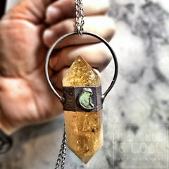 Electroformed Citrine and Monarch Opal Necklace