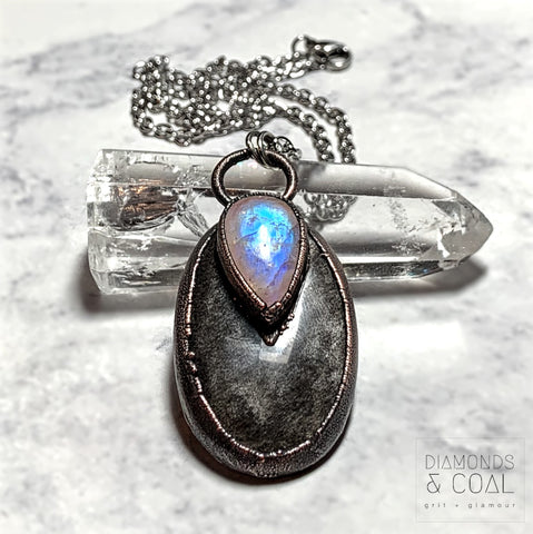 Electroformed Silver Sheen Obsidian and Rainbow Moonstone Necklace