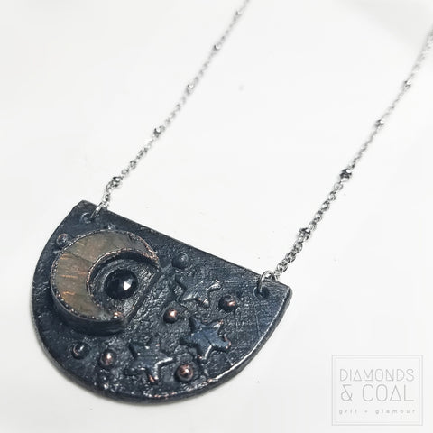Electroformed Labradorite Moon and Stars Necklace with black spinel accent