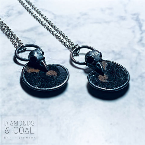 Electroformed Black Ammonite Fossil with Replica Bird Skull Necklace