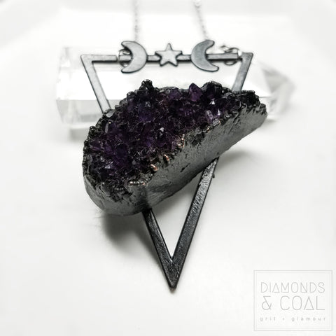 Electroformed Amethyst Star and Moon Triangle Necklace