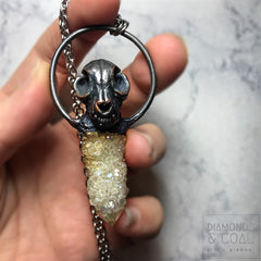 Electroformed Faux Cat Skull and Aura Spirit Quartz Crystal Necklace