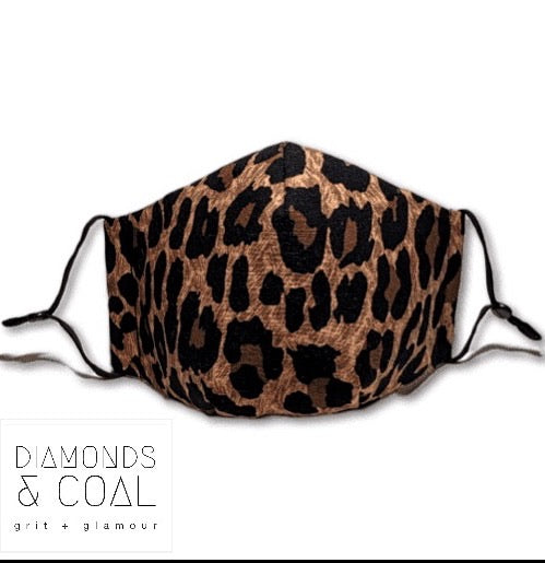 3 Point 3D Face Mask with Filter Pocket and EAR LOOPS - Unisex - Leopard Print