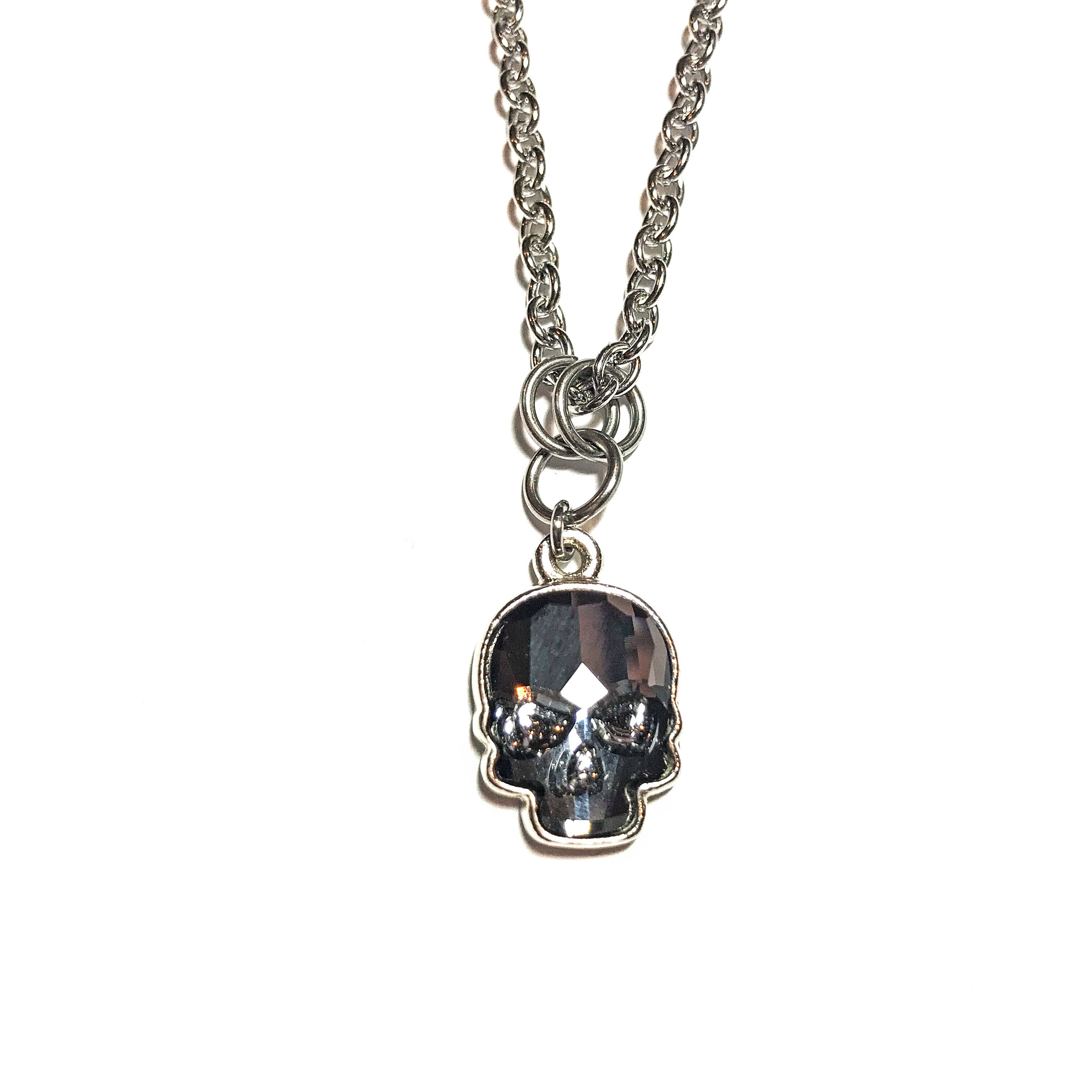 Small Swarovski Skull Necklace - Silver