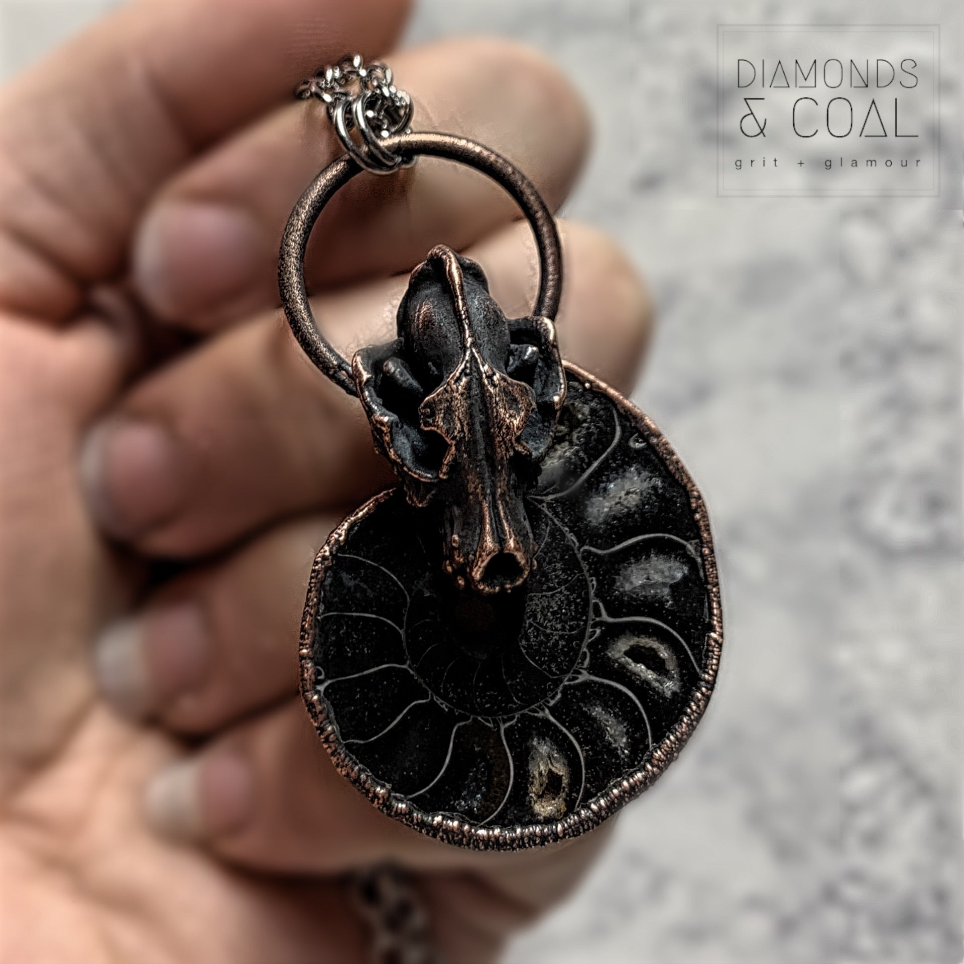 Electroformed Black Ammonite Fossil with Replica Wolf Skull Necklace