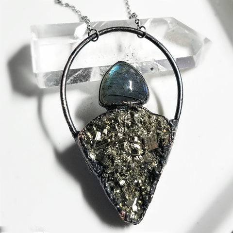Electroformed Pyrite and Labradorite Hoop Necklace