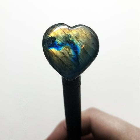 Labradorite Heart and Copper Wooden Hair Stick