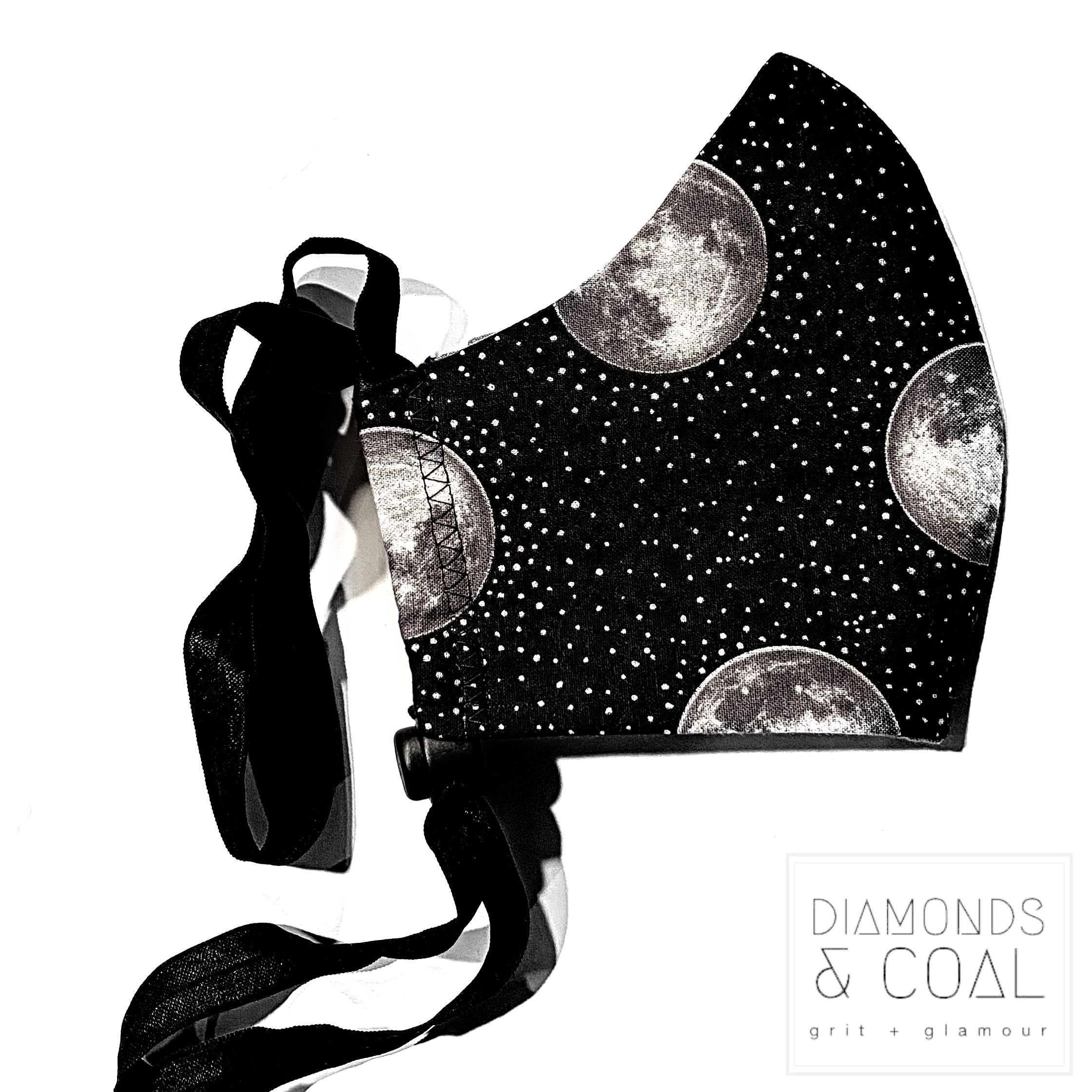 Face Mask with Filter Pocket - Unisex - Size Medium - Black and Metallic Silver Full Moons