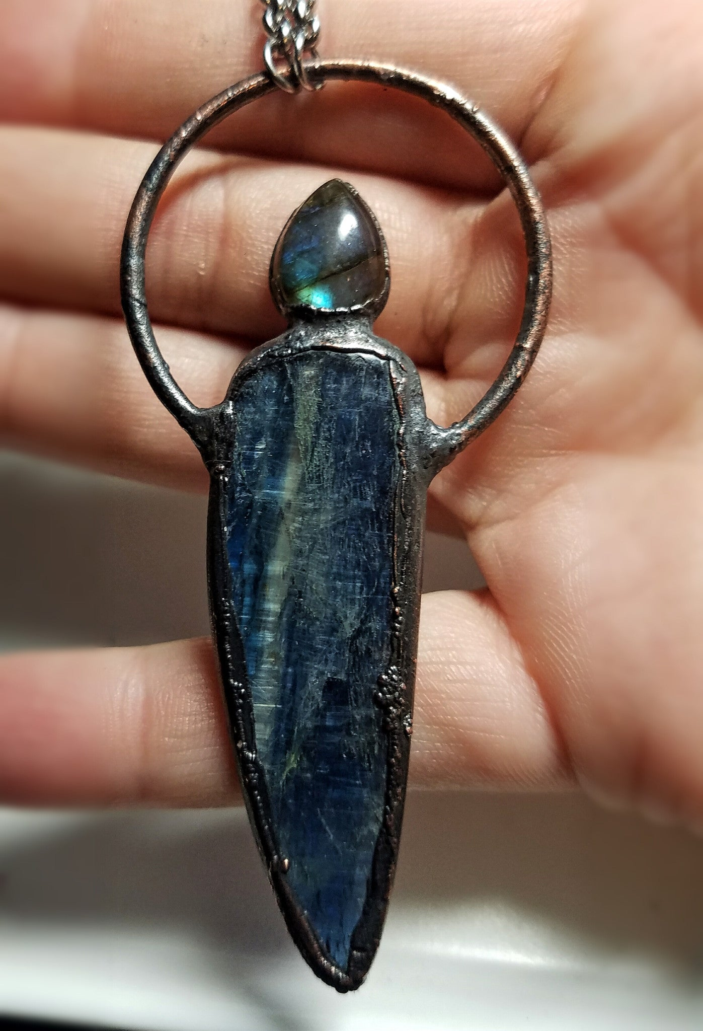 Electroformed Kyanite and Labradorite Hoop Necklace #1