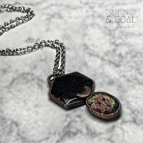 Electroformed Black Tourmaline Coin and Faceted Labradorite with Moon Necklace #1