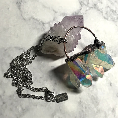 Electroformed Angel Aura Quartz Necklace