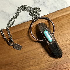 Electroformed Smokey Quartz and Mermaid Opal Necklace