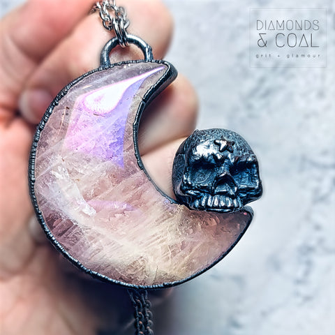 Electroformed Angel Aura Rose Quartz Moon and Skull Necklace