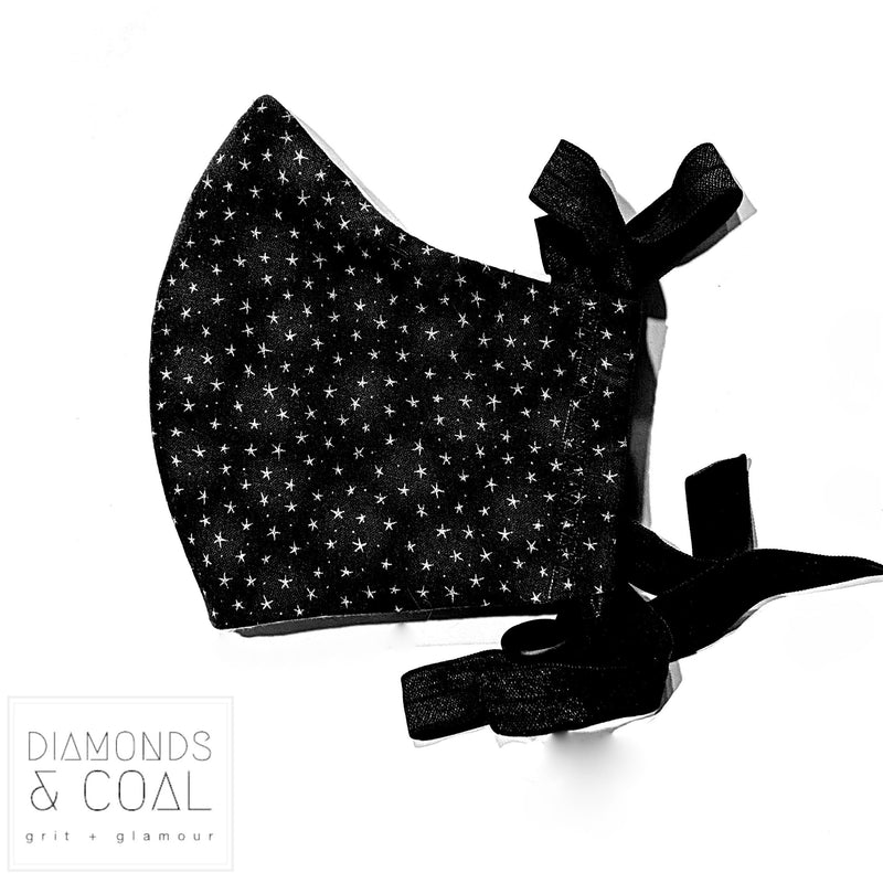 Face Mask and matching boxy bag / mask holder - Black Stars