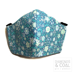 Face Mask with Filter Pocket - Unisex - Size Medium - Blue Flowers