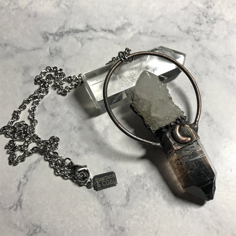 Electroformed Smokey and Spirit Quartz Necklace