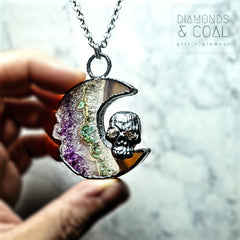 Electroformed Amethyst Moon and Herkimer Diamond Skull Necklace #1