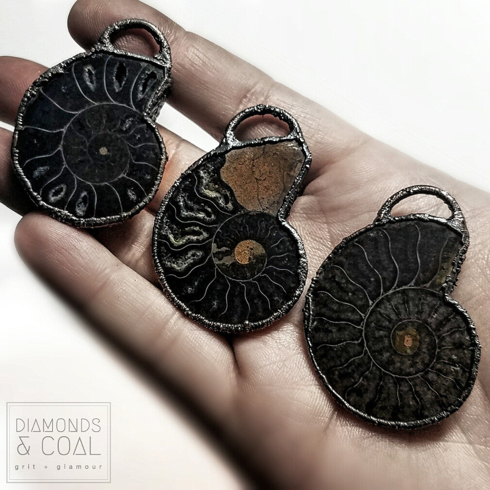 Electroformed Black Ammonite Fossil Necklace #1 - with Druzy pockets