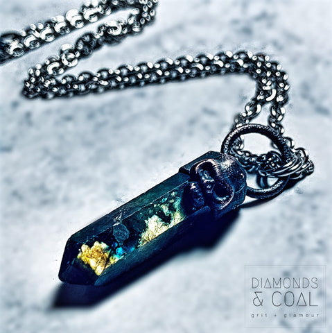 Electroformed Labradorite Point with Skull Necklace #2