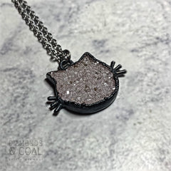 Electroformed Druzy Crystal Cat Head Necklace