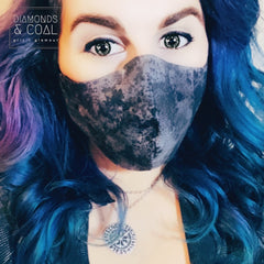 Face Mask with Filter Pocket - Unisex - Size Medium - Black Galaxy