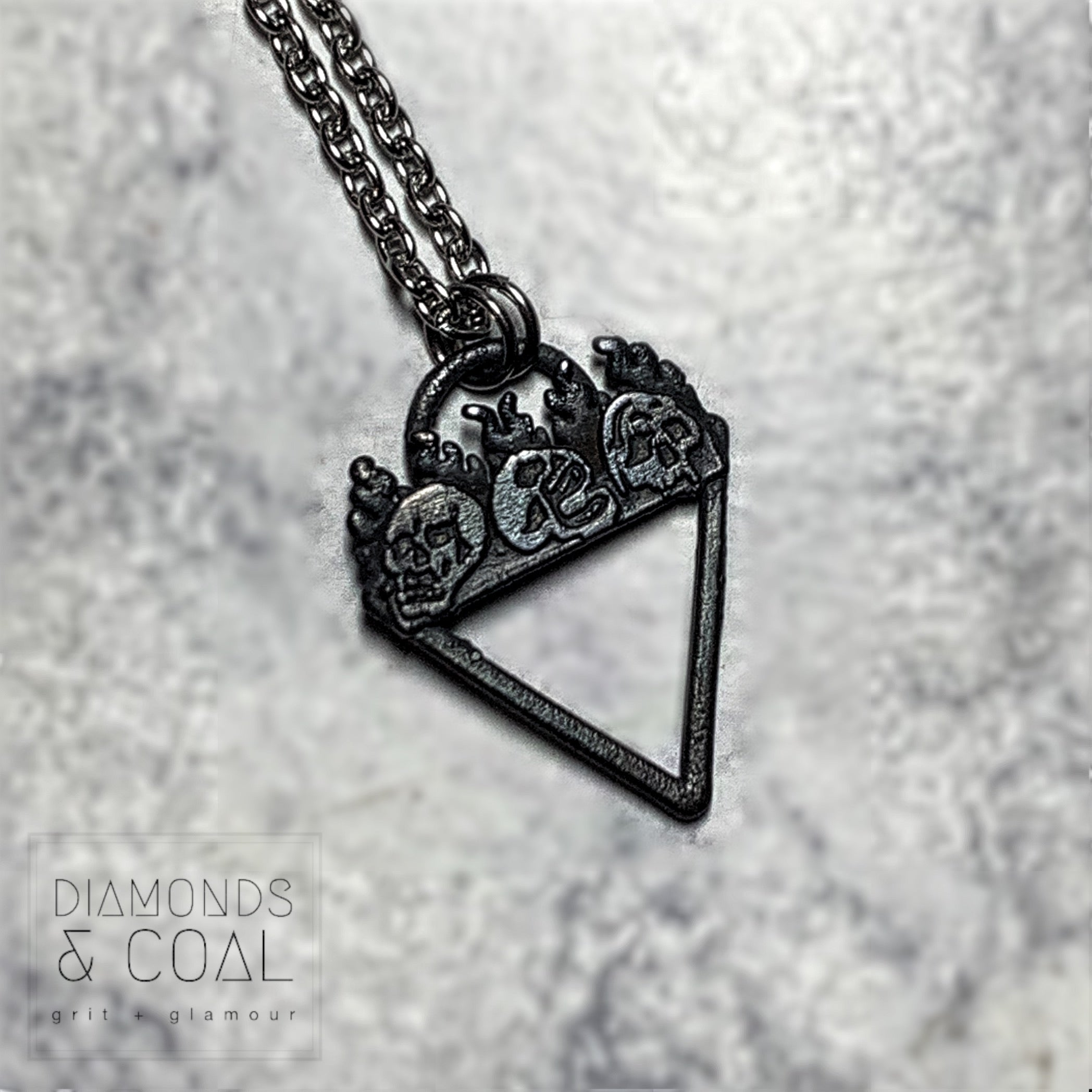 Electroformed Skull Flame Small Triangle Necklace