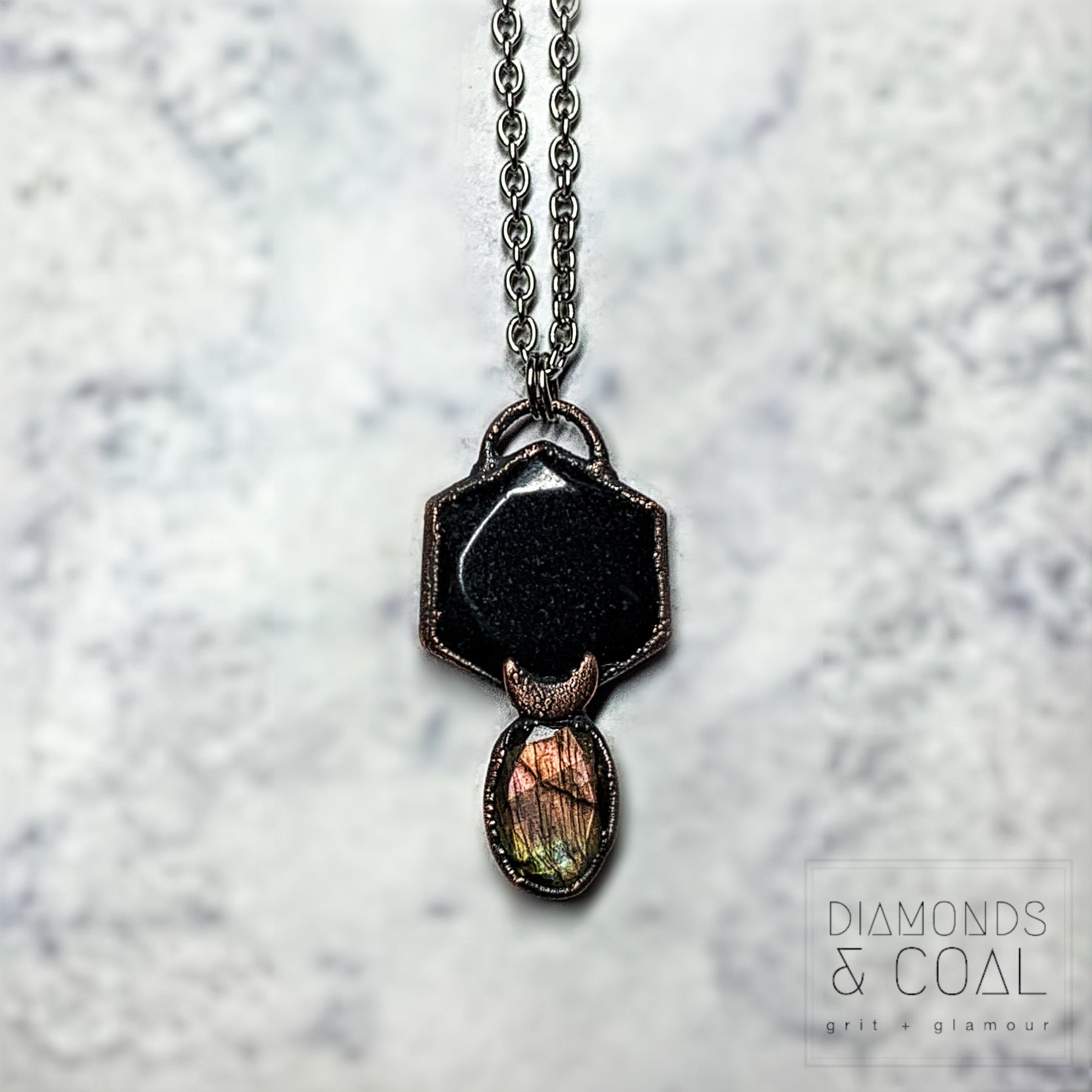 Electroformed Black Tourmaline Coin and Faceted Labradorite with Moon Necklace #2