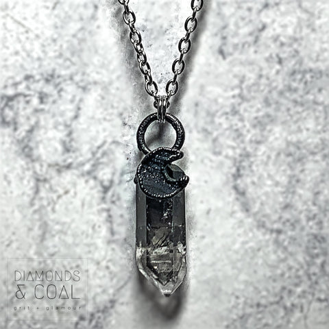 Electroformed Druzy Moon Smoky Quartz Point Necklace #2