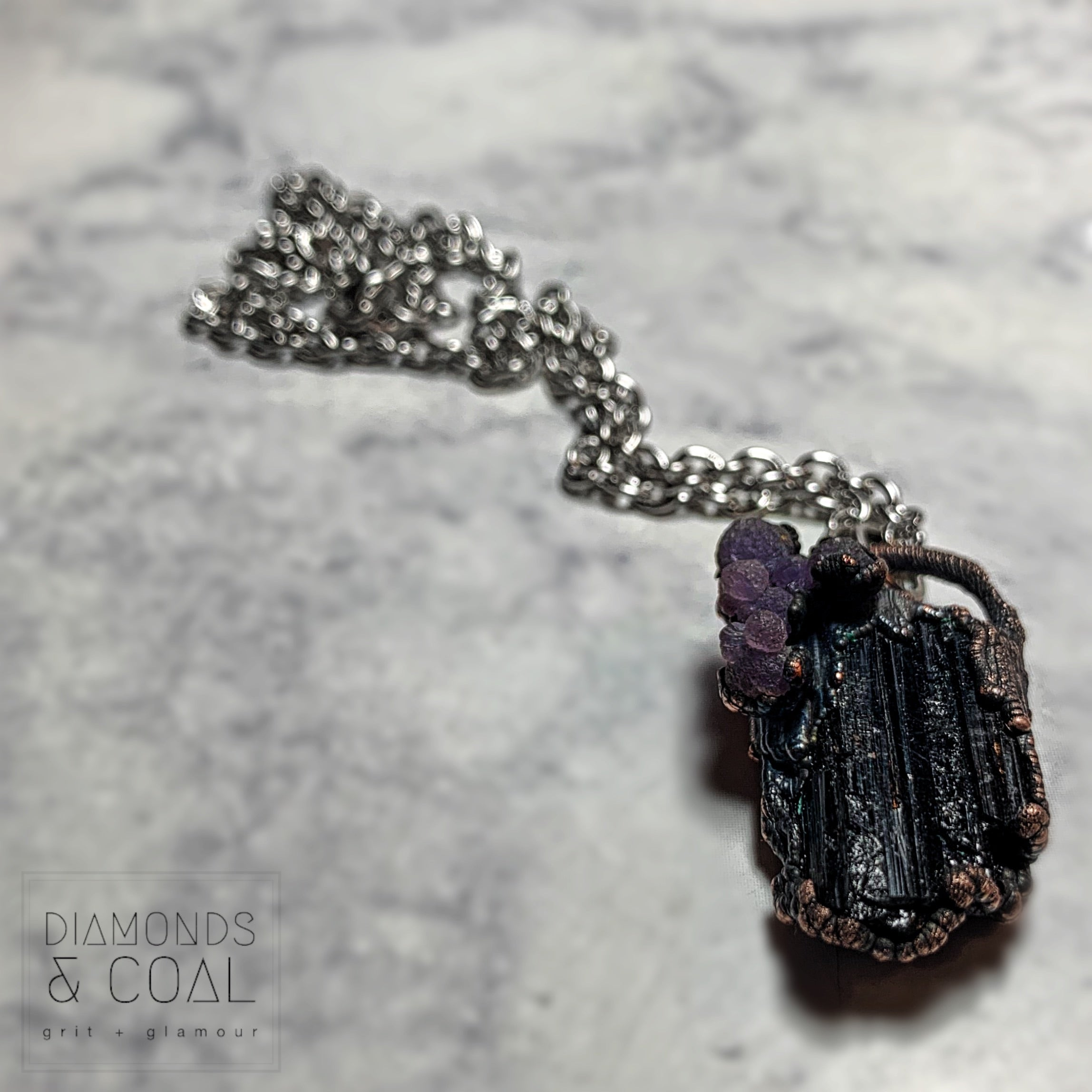 Electroformed Black Tourmaline and Grape Chalcedony Necklace
