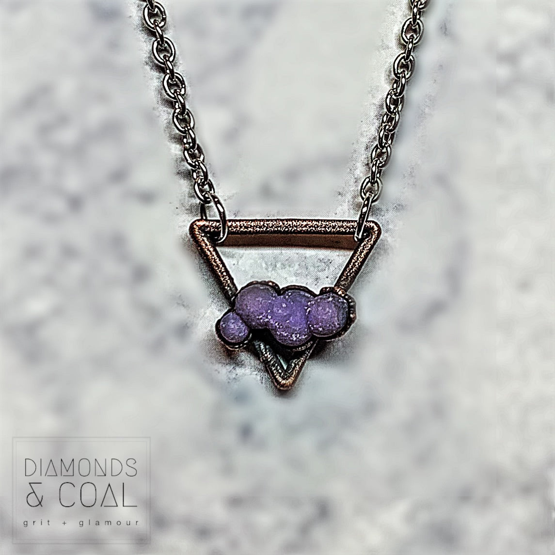 Electroformed Grape Chalcedony Triangle Necklace #2