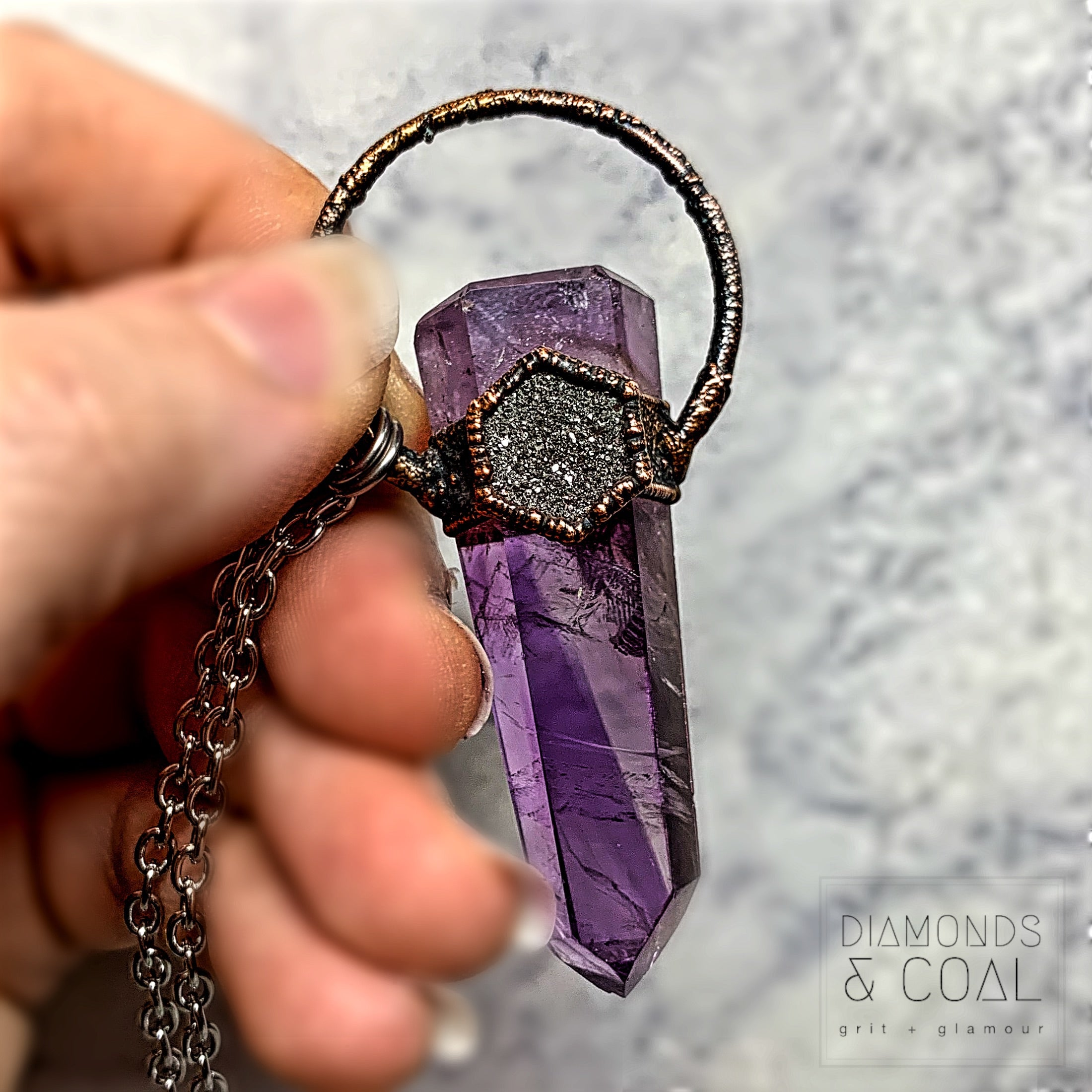 Electroformed Amethyst Point and Silver Druzy Hex Necklace