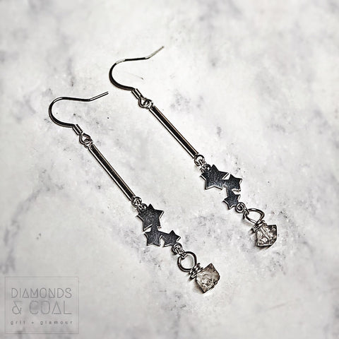 Stainless Steel Herkimer Diamonds Falling Star Earrings