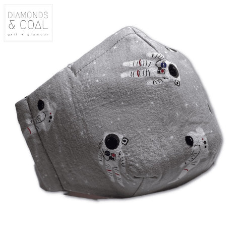 3 Point 3D Face Mask with Filter Pocket - Unisex - Grey Astronaut