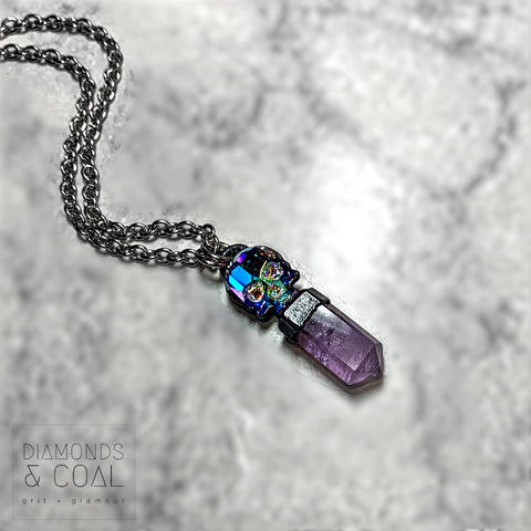 Electroformed Swarovski Skull and Amethyst Crystal Point Necklace #1
