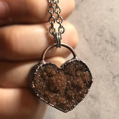Electroformed Druzy Heart Copper Necklace