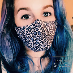 3 Point 3D Face Mask with Filter Pocket - Unisex - Snow Leopard Print