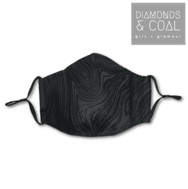 3 Point 3D Face Mask with Filter Pocket and EAR LOOPS - Unisex - Black on Black Swirls