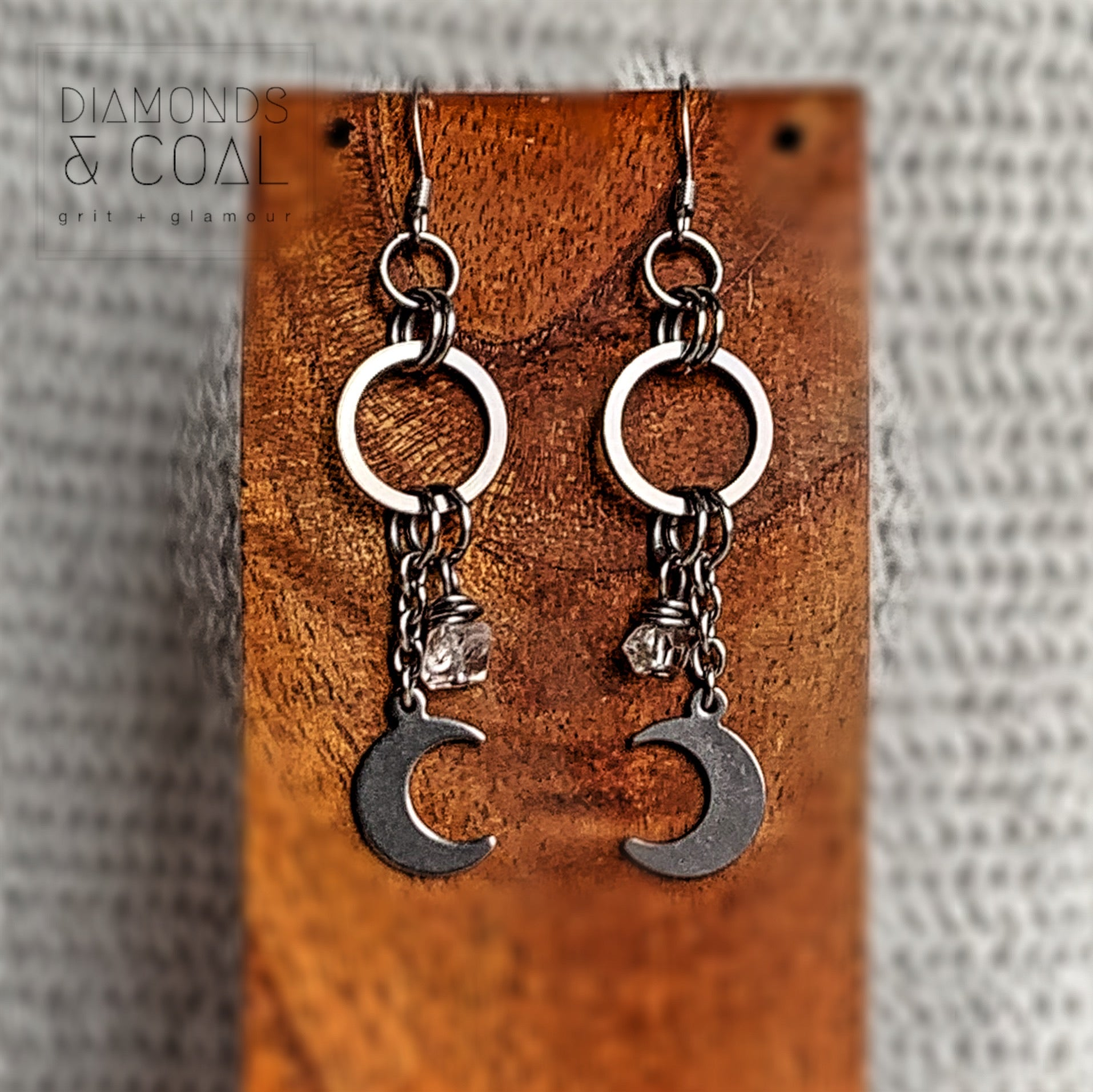 Stainless Steel Herkimer Diamonds Crescent Moon Earrings