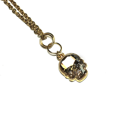 Small Swarovski Skull Necklace - Gold