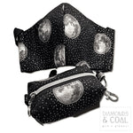 Face Mask and matching boxy bag / mask holder - Metallic Moons