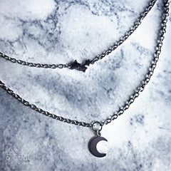 Stainless Steel Layering Necklace - Stars and Crescent Moon