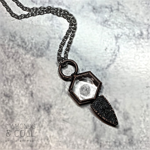 Electroformed Quartz Six Sided Coin and Black Druzy Dagger Necklace