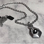 Stainless Steel  Black Spinel Diamond Necklace