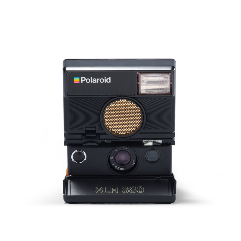 Black Polaroid SLR 680 Instant Camera Front view